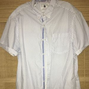 Men's Blue/White short sleeve button down